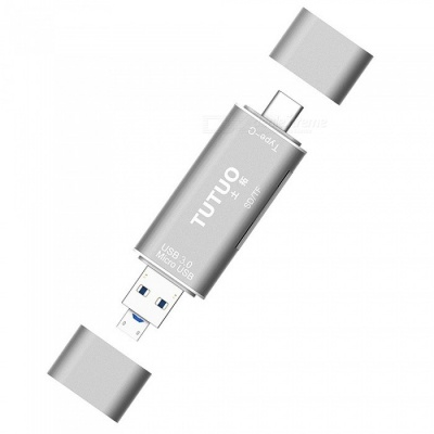 Tutuo Type-c Mirco USB, USB 3.0 Card Reader TF, SD OTG Adapter -Silver