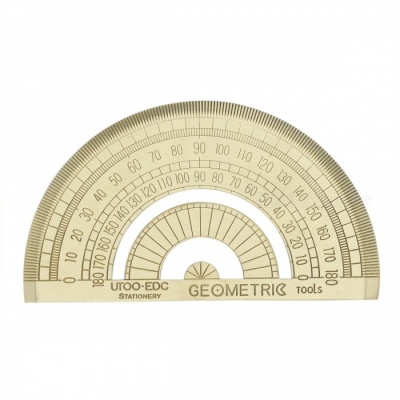 Retro Half Circle Shaped Brass Protractor Ruler - Bronze