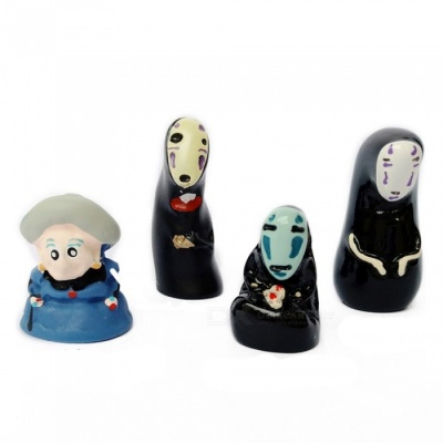 No Face Man and Yubaba Style Potted Garden Landscape Dolls (4pcs)