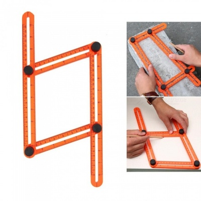 Kitbon Multi-Angle Four-Sided Measuring Ruler for DIY - Orange Red