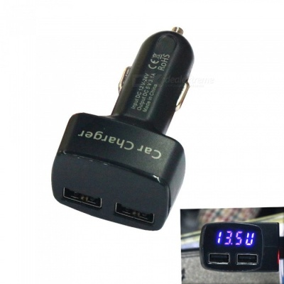 AS-1 Dual USB Quick Charge Car Charger with LCD Display - Black