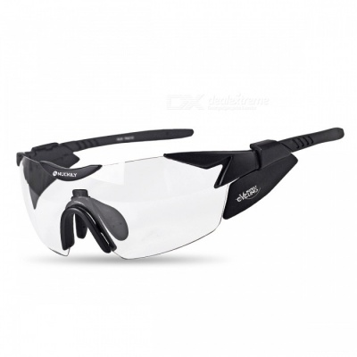 NUCKILY Transparent Color Changing Windproof Sunglasses - Black
