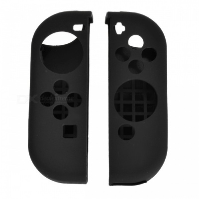 6-in-1 Protective Silicone Controller Covers with Caps - Black