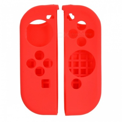 6-in-1 Protective Silicone Controller Covers with Caps - Red, Black