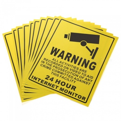 XSC Into Monitoring Range Tip Warning Stickers Set - Yellow (10 PCS)