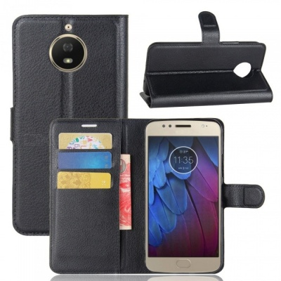 Flip Protective PU Wallet Case with Stand for MOTO G5S - Black