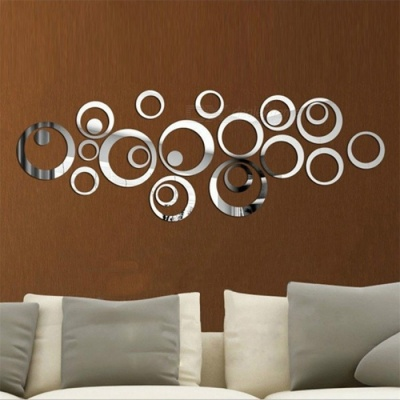 Circle Pattern DIY Home Decal Crystal Mirror Wall Sticker - Silver