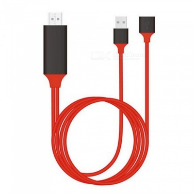 USB to HDMI HDTV Video Adapter Cable for IPHONE, Samsung - Red (100cm)