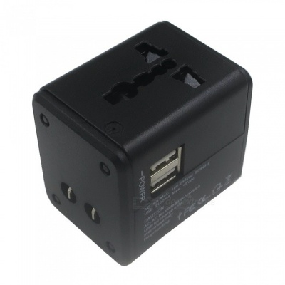 SZFC Travel Universal AC Power Charger with Dual USB Ports - Black