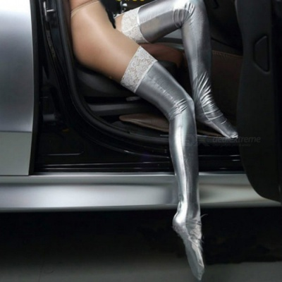 Sexy Lace Patent Leather Knee Funny Stockings - Silver (1 Pair)