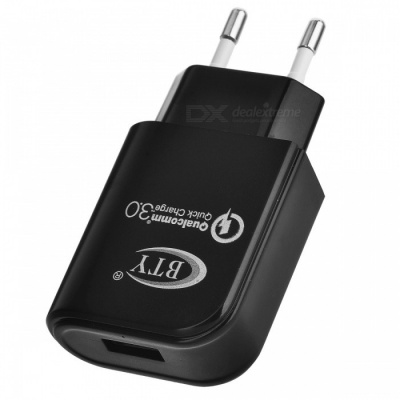 BTY M521F QC3.0 Quick Charge EU Plug Charger - Black