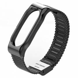 Metal Steel Mesh Case Watch Strap for Xiaomi Miband 2 - Black