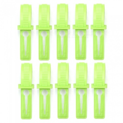 10PCs Windproof Plastic Clothes Hangers - Green