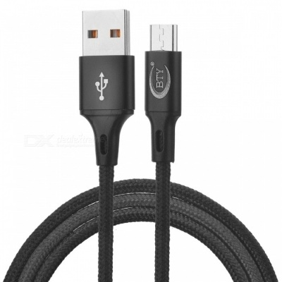 BTY W817 Micro USB Braided High-Speed Data Charging Cable - Black (1m)