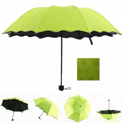 Folding Manual Sun, Rain Anti-UV Umbrella Parasol - Green