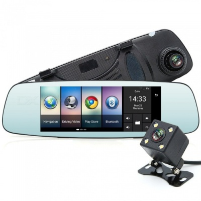 Junsun 4G GPS Bluetooth Wi-Fi Car Camera DVR Mirror with Dual Lens
