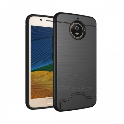 Protective PC, TPU Back Case with Card Slots for Moto G5s - Black