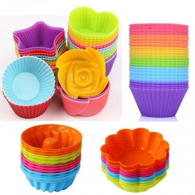 48pcs Soft Silicone Cake Muffin Chocolate Bakeware Baking Cups