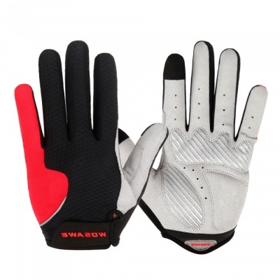 WOSAWE Anti-Slip Full Finger Gloves for Cycling - Black, Red (M)