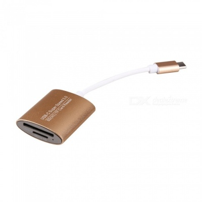 Super Speed USB 3.0 Type-C SD, TF Memory Card Reader - Golden