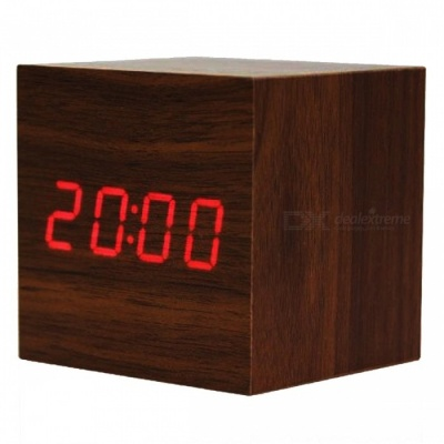 BSTUO Wooden Square LED Alarm Clock with Thermometer - Dark Brown