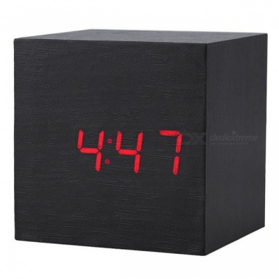 BSTUO Wooden Square Desktop LED Alarm Clock with Thermometer - Black