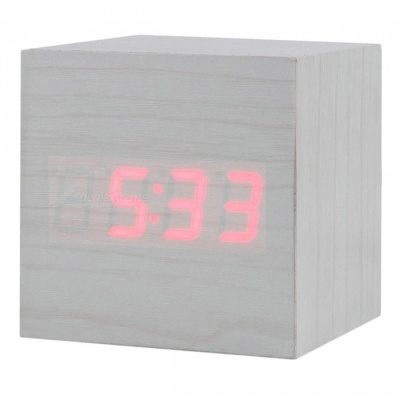BSTUO Wooden Square Desktop LED Alarm Clock with Thermometer - White