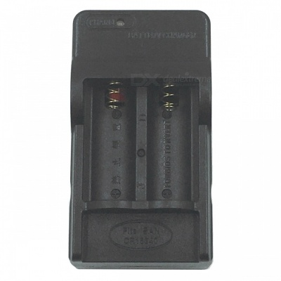 SZFC US Plugs 16340 Lithium Battery Dual Slot Charger - Black