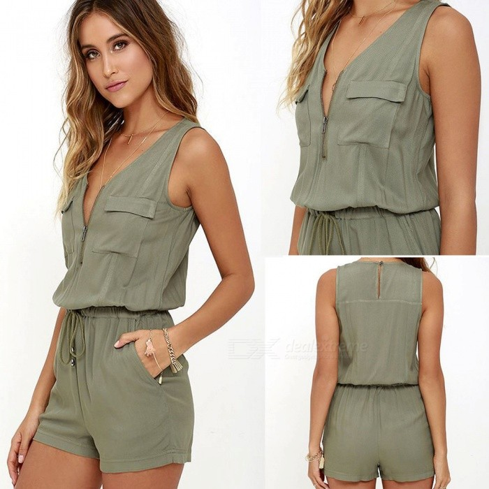 Casual Leisure Sleeveless One-Piece Shorts Jumpsuit - Army Green (M)