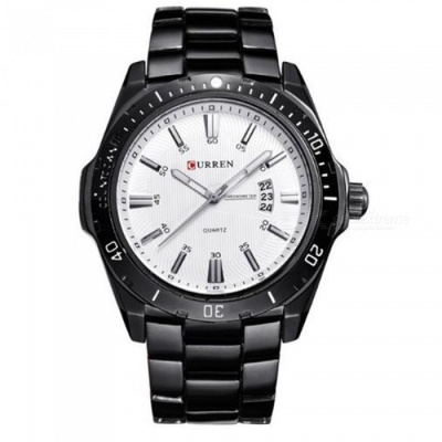 50m Waterproof Stainless Steel Men's Fashion Calendar Watch - Black