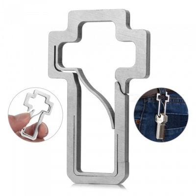 FURA Cross Shape Stainless Steel Anti-Lost Keychain Carabiner - Silver