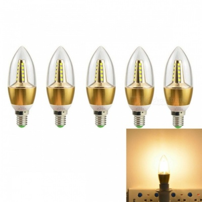 JRLED E14 5W 2835 25-LED Warm White LED Candle Lights - Golden (5 PCS)