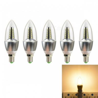JRLED E14 5W 2835 25-LED Warm White LED Candle Lights - Silver (5 PCS)
