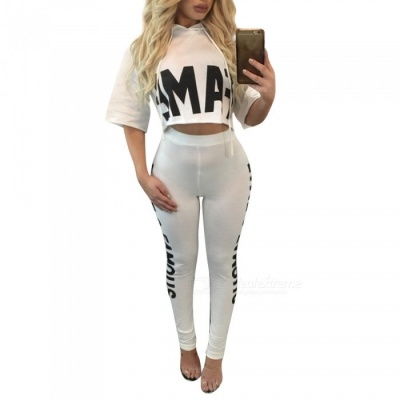 Sexy Casual Two-Piece Suit Women's Jacket with Pants - White (L)