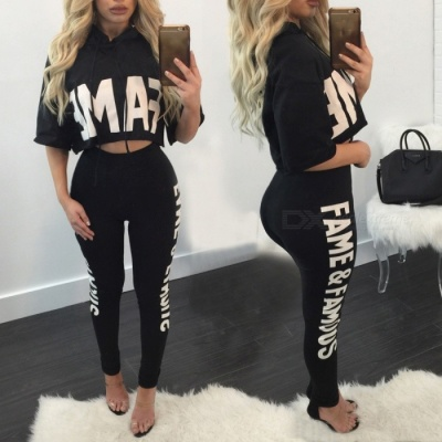 Sexy Casual Two-Piece Suit Women's Jacket with Pants - Black (M)