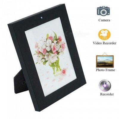 720P HD Easy-Use Photo Frame Hidden Camera - Black