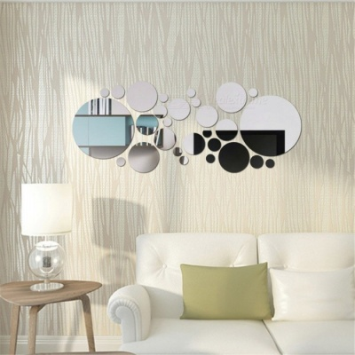 3D DIY Home Decor Silver Circles Mirror Acrylic Wall Stickers - Silver