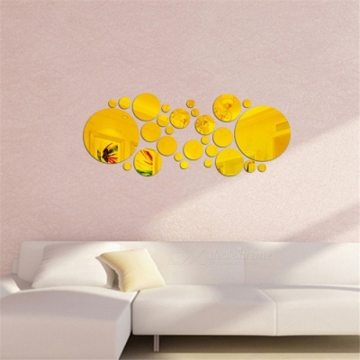 3D DIY Home Decor Circles Mirror Acrylic Wall Stickers - Golden