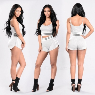 Fashion Casual Two-piece Cotton Shorts with Top Set - Light Gray (S)