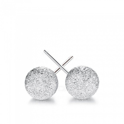 4mm S925 Sterling Silver Matte Ball Style Stud Earrings (Pair)