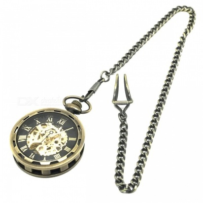 W24 Men's Zinc Alloy Mechanical Analog Pointer Pocket Watch - Bronze