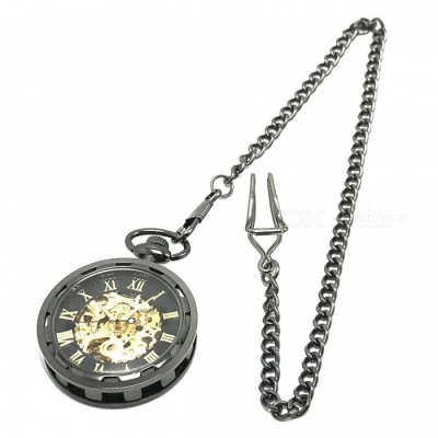 W24 Men's Zinc Alloy Mechanical Analog Pointer Pocket Watch - Black