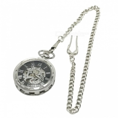W24 Men's Zinc Alloy Mechanical Analog Pointer Pocket Watch - Silver