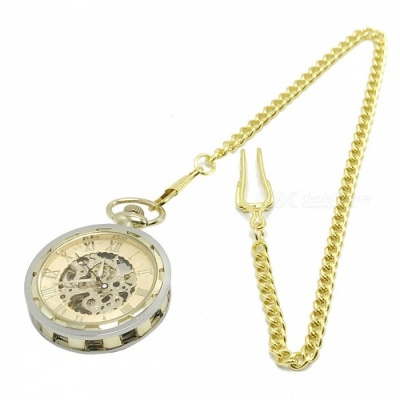W24 Men's Zinc Alloy Mechanical Analog Pointer Pocket Watch - Golden