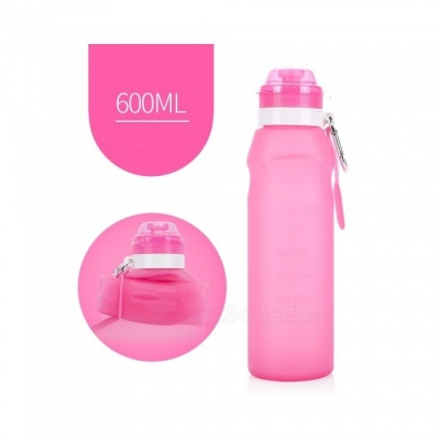 NUCKILY Outdoor Portable Folding 600ML Silicone Water Bottle - Pink
