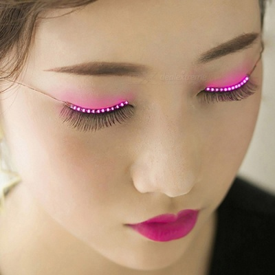 ZHAOYAO Stylish Plastic 24-LED Colorful Light Eyelashes - Pink (Pair)