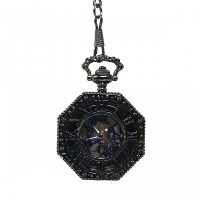 W30 Men's Retro Hollow Analog Mechanical Zinc Alloy Pocket Watch
