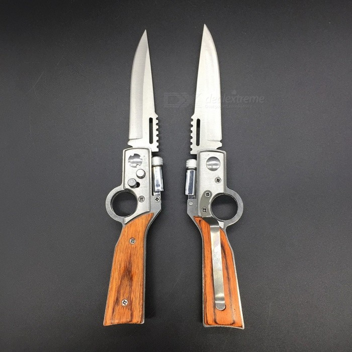 AK47 Portable Folding Knife with LED for Self-Defense - Brown (M)