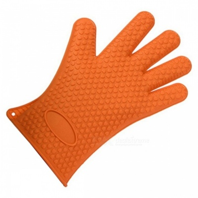 Heat Resistant Silicone Glove Oven Holder BBQ Cooking Mitts - Orange