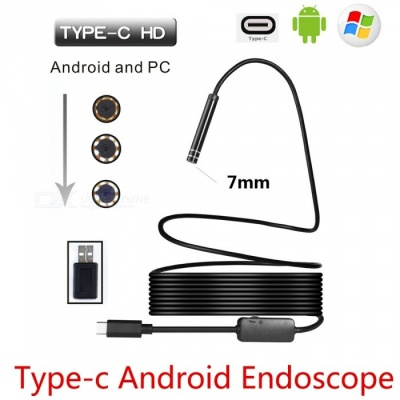 BLCR 7mm 6-LED USB Type-C Android PC Endoscope with Hardwire (5m)